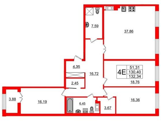 3-комнатная квартира, 132 м²; этаж: 8 - купить в Санкт-Петербурге