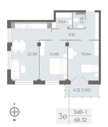 2-комнатная квартира №17А в: Neva Residence: 68.32 м²; этаж: 5 - купить в Санкт-Петербурге