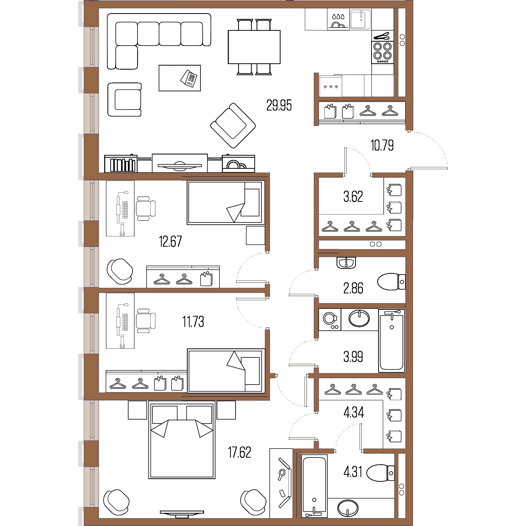3-комнатная квартира, 101.88 м²; этаж: 2 - купить в Санкт-Петербурге