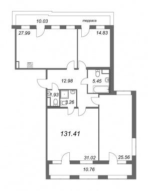 3-комнатная квартира, 131.41 м²; этаж: 8 - купить в Санкт-Петербурге