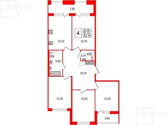 4-комнатная квартира, 97.1 м²; этаж: 8 - купить в Санкт-Петербурге