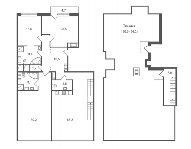3-комнатная квартира №45 в: ЖК Леонтьевский Мыс: 232.4 м²; этаж: 10 - купить в Санкт-Петербурге