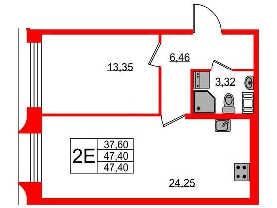 2-комнатная квартира №3 в: ЖК NEOPARK: 47.4 м²; этаж: 10 - купить в Санкт-Петербурге