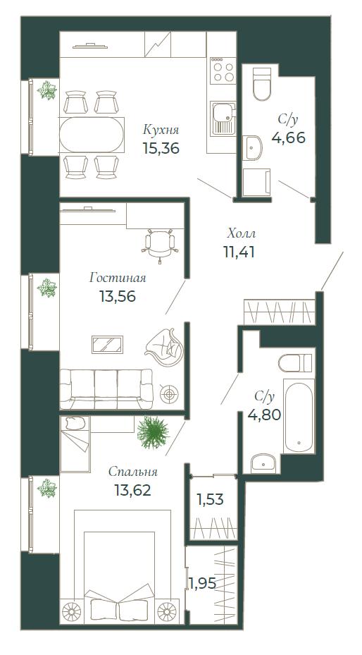 2-комнатная квартира, 67.1 м²; этаж: 4 - купить в Санкт-Петербурге