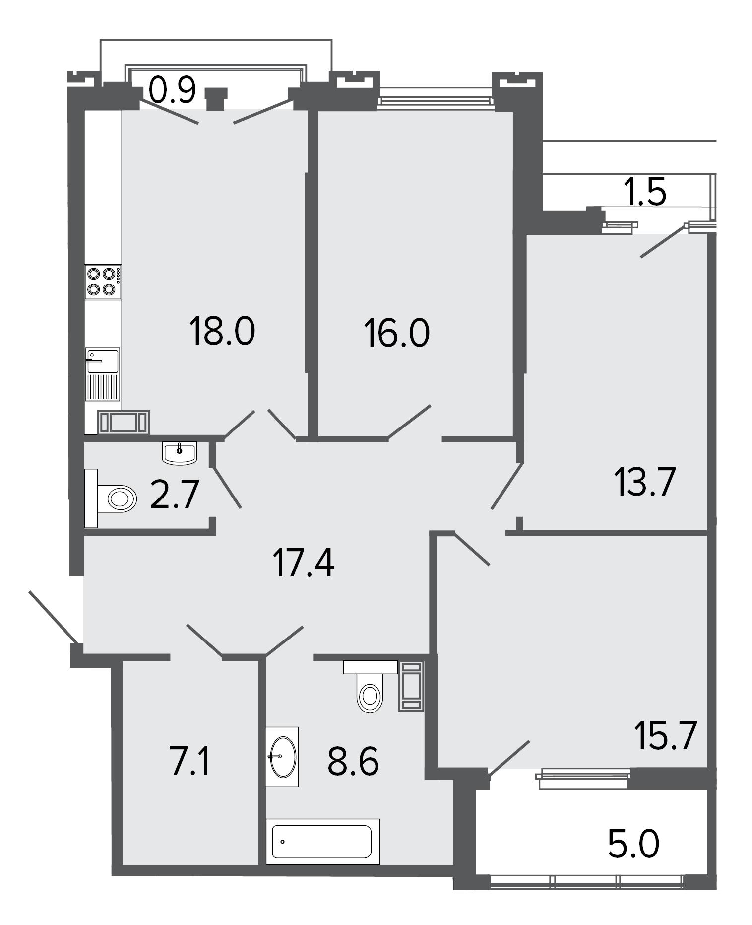 3-комнатная квартира, 99.2 м²; этаж: 7 - купить в Санкт-Петербурге