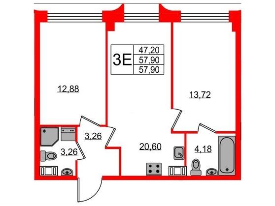 3-комнатная квартира №3 в: ЖК NEOPARK: 57.9 м²; этаж: 3 - купить в Санкт-Петербурге