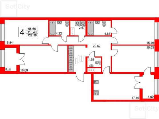 4-комнатная квартира, 118.4 м²; этаж: 4 - купить в Санкт-Петербурге