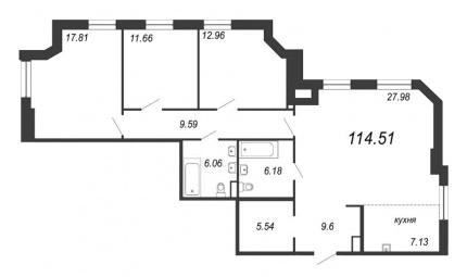 3-комнатная квартира, 114.51 м²; этаж: 8 - купить в Санкт-Петербурге