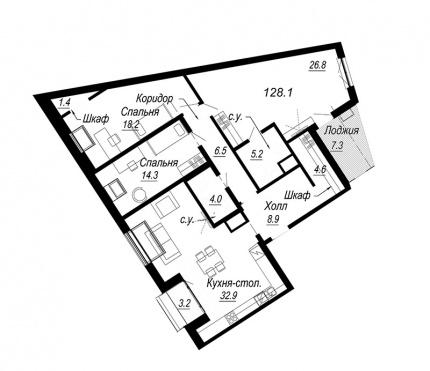 3-комнатная квартира, 128.1 м²; этаж: 8 - купить в Санкт-Петербурге