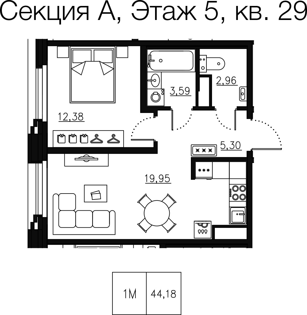1-комнатная квартира №68 в: Малоохтинский 68: 45.33 м²; этаж: 5 - купить в Санкт-Петербурге