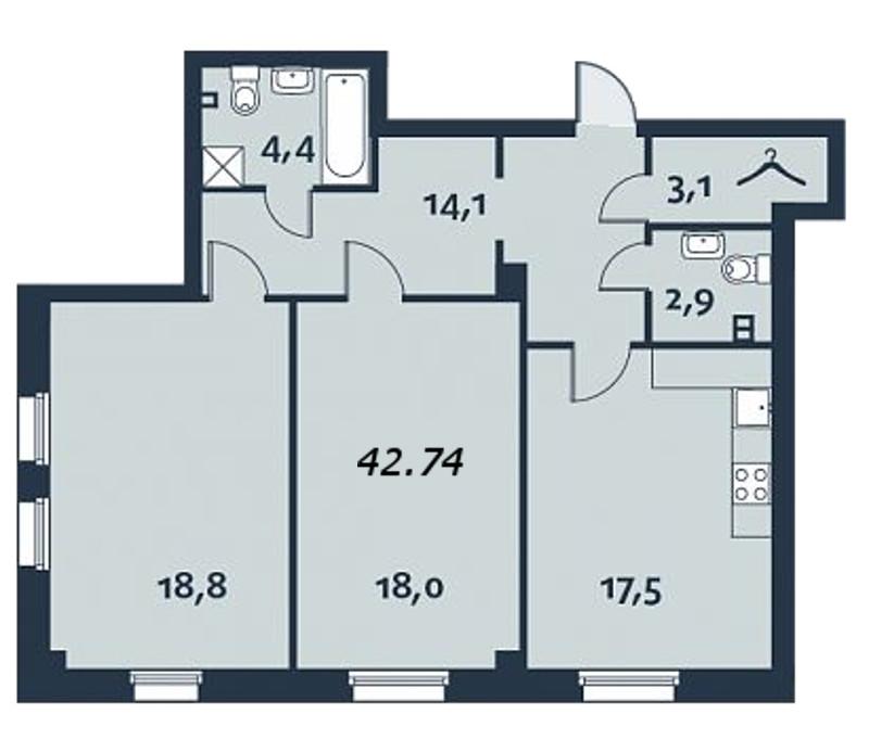 2-комнатная квартира, 99.8 м²; этаж: 4 - купить в Санкт-Петербурге