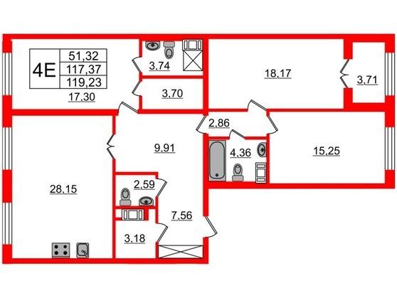 3-комнатная квартира, 117.5 м²; этаж: 6 - купить в Санкт-Петербурге