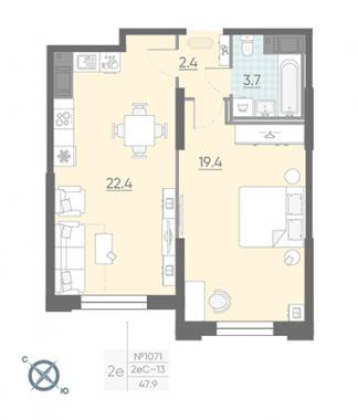 1-комнатная квартира №42 в: Цивилизация на Неве: 48.9 м²; этаж: 2 - купить в Санкт-Петербурге