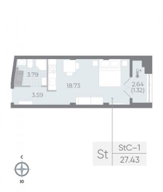 1-комнатная квартира №17А в: Neva Residence: 27.43 м²; этаж: 6 - купить в Санкт-Петербурге