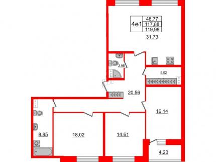 3-комнатная квартира, 117.88 м²; этаж: 8 - купить в Санкт-Петербурге