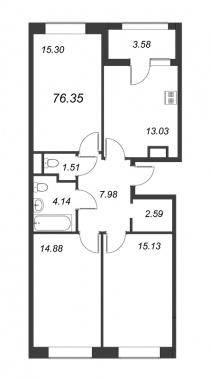 3-комнатная квартира, 76.35 м²; этаж: 12 - купить в Санкт-Петербурге