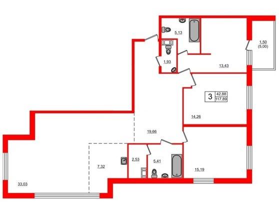 4-комнатная квартира, 117.89 м²; этаж: 8 - купить в Санкт-Петербурге