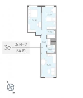2-комнатная квартира, 54.81 м²; этаж: 12 - купить в Санкт-Петербурге
