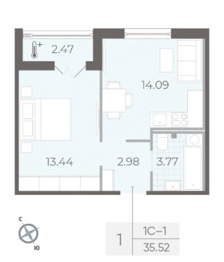 2-комнатная квартира, 35.52 м²; этаж: 2 - купить в Санкт-Петербурге