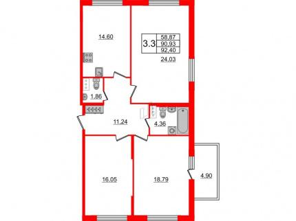 3-комнатная квартира, 90.93 м²; этаж: 7 - купить в Санкт-Петербурге