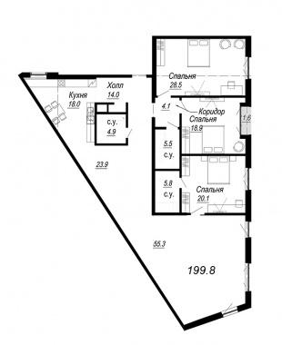 4-комнатная квартира, 199.8 м²; этаж: 5 - купить в Санкт-Петербурге