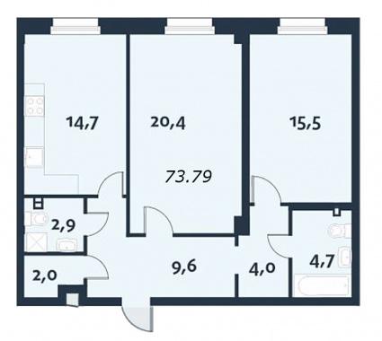 2-комнатная квартира, 119.8 м²; этаж: 3 - купить в Санкт-Петербурге