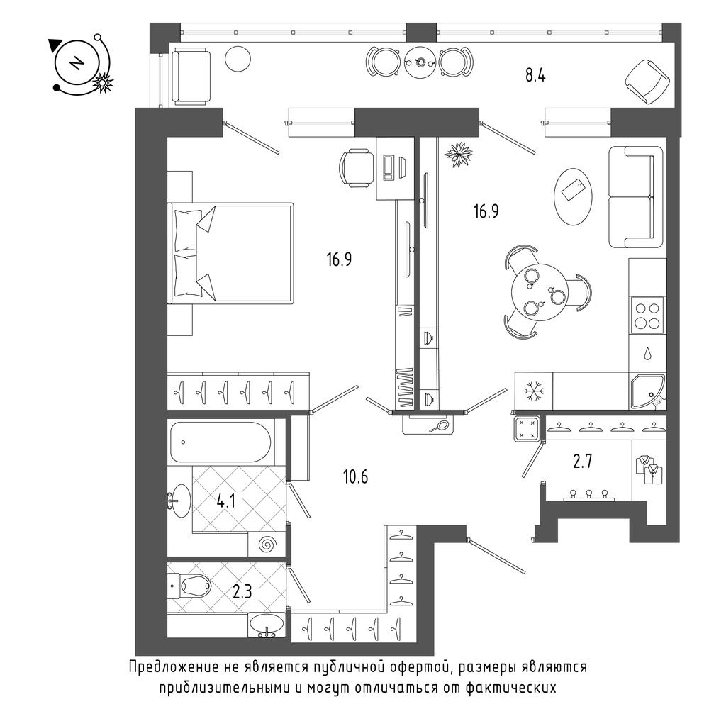 1-комнатная квартира №70 в: ЖК Эталон на Неве: 56 м²; этаж: 3 - купить в Санкт-Петербурге