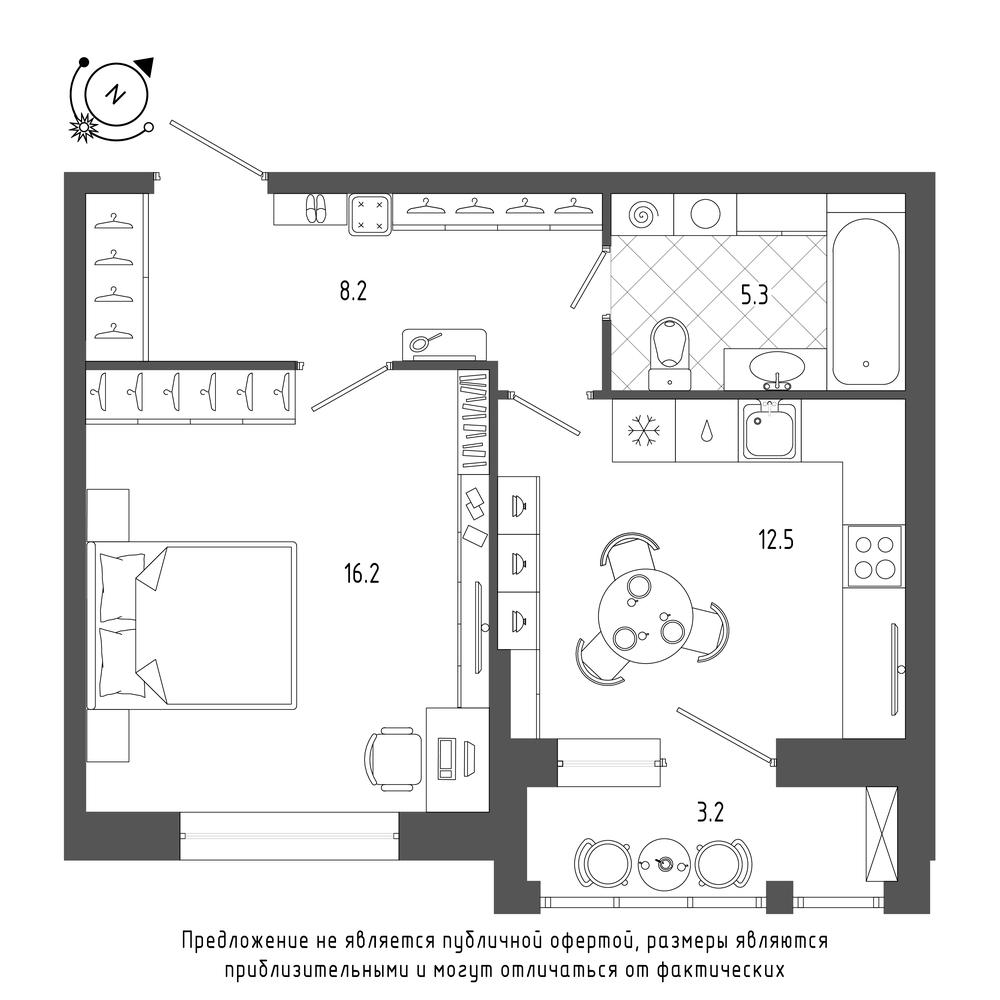 1-комнатная квартира №70 в: ЖК Эталон на Неве: 43.8 м²; этаж: 5 - купить в Санкт-Петербурге