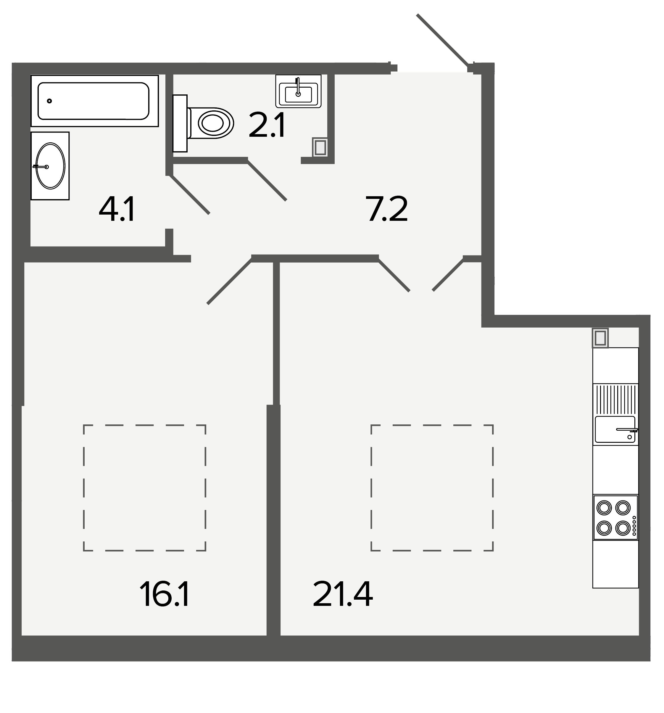 1-комнатная квартира, 50.9 м²; этаж: 4 - купить в Санкт-Петербурге