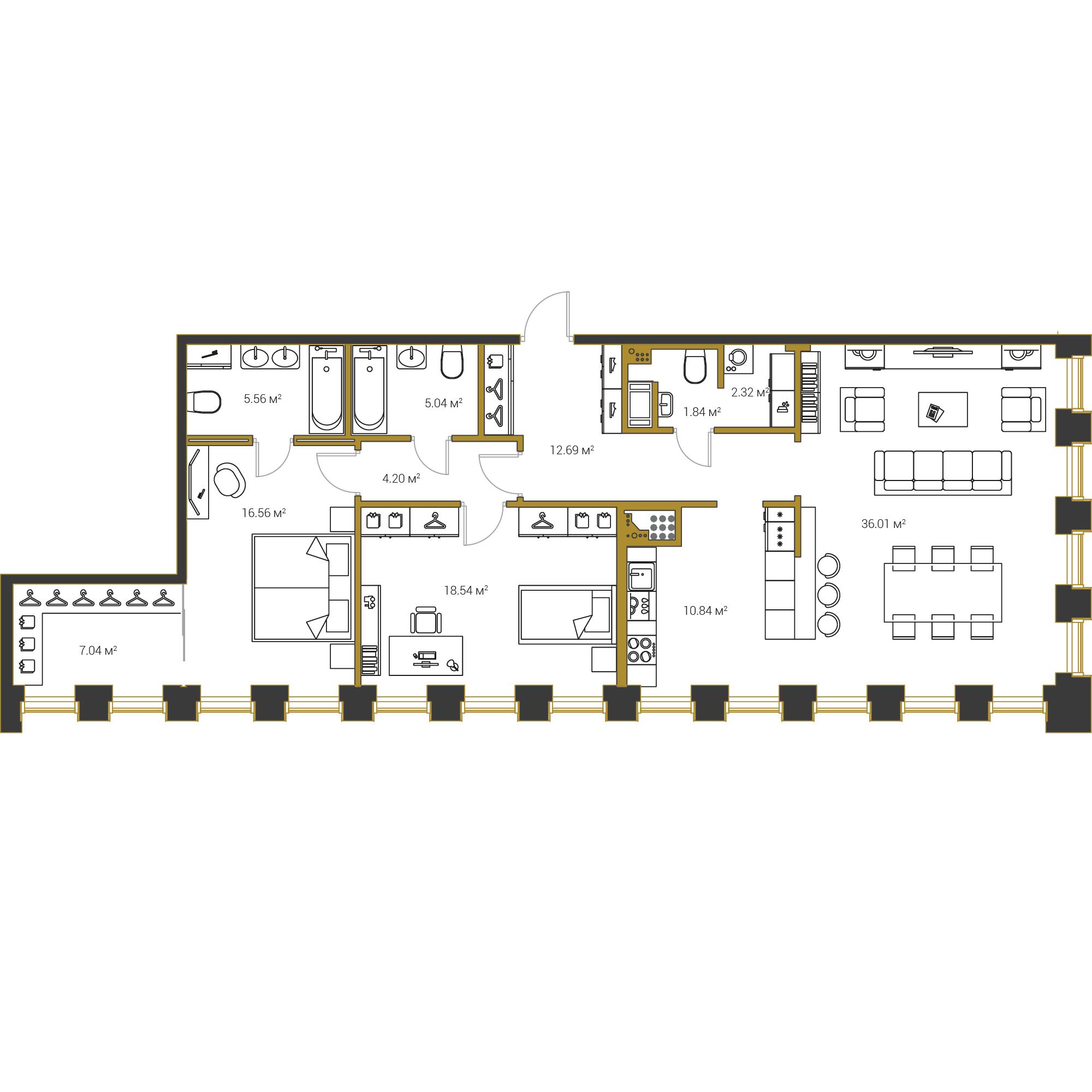 2-комнатная квартира №16 в: Институтский,16: 120.64 м²; этаж: 18 - купить в Санкт-Петербурге