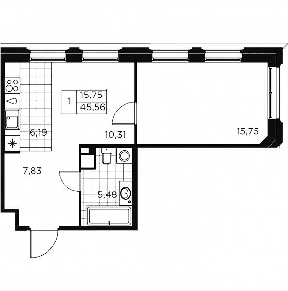 1-комнатная квартира, 45.56 м²; этаж: 7 - купить в Санкт-Петербурге