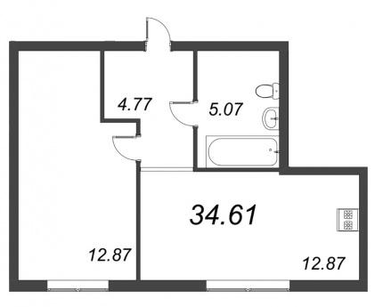 1-комнатная квартира, 34.61 м²; этаж: 2 - купить в Санкт-Петербурге