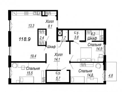4-комнатная квартира №27 в: Meltzer Hall: 118.9 м²; этаж: 3 - купить в Санкт-Петербурге