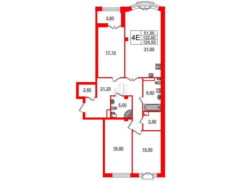 3-комнатная квартира №7 в: Victory Plaza: 122.6 м²; этаж: 6 - купить в Санкт-Петербурге
