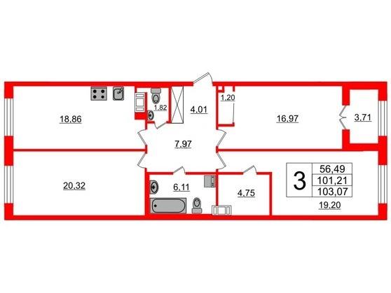 3-комнатная квартира, 101.6 м²; этаж: 4 - купить в Санкт-Петербурге