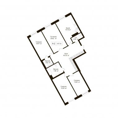 4-комнатная квартира, 137.13 м²; этаж: 2 - купить в Санкт-Петербурге