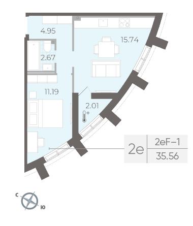 1-комнатная квартира №14 в:  Морская набережная.SeaView II очередь: 35.56 м²; этаж: 2 - купить в Санкт-Петербурге