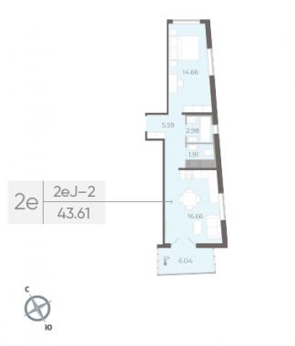 1-комнатная квартира, 43.61 м²; этаж: 8 - купить в Санкт-Петербурге