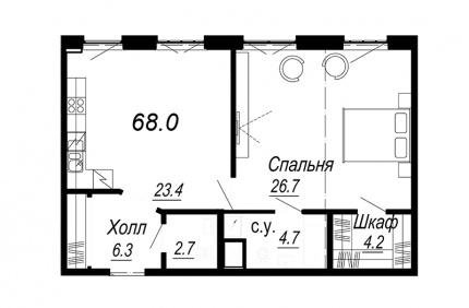 1-комнатная квартира, 68 м²; этаж: 5 - купить в Санкт-Петербурге