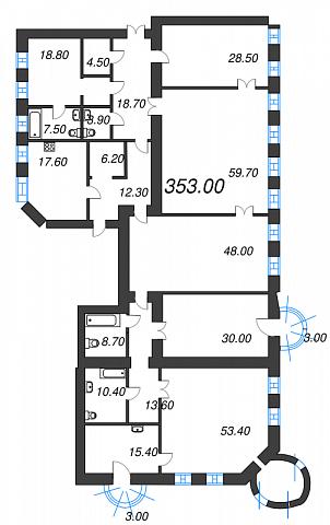 6-комнатная квартира №41 в: Три грации: 353 м²; этаж: 3 - купить в Санкт-Петербурге