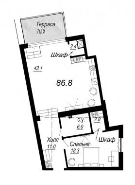 1-комнатная квартира №27 в: Meltzer Hall: 86.8 м²; этаж: 6 - купить в Санкт-Петербурге