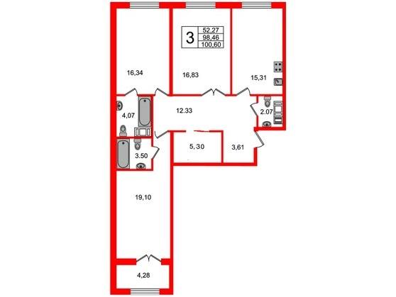 3-комнатная квартира, 98.7 м²; этаж: 5 - купить в Санкт-Петербурге