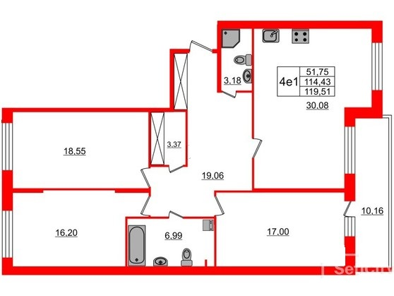 3-комнатная квартира, 114.43 м²; этаж: 7 - купить в Санкт-Петербурге