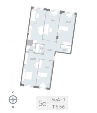 4-комнатная квартира №17А в: Neva Residence: 115.56 м²; этаж: 4 - купить в Санкт-Петербурге