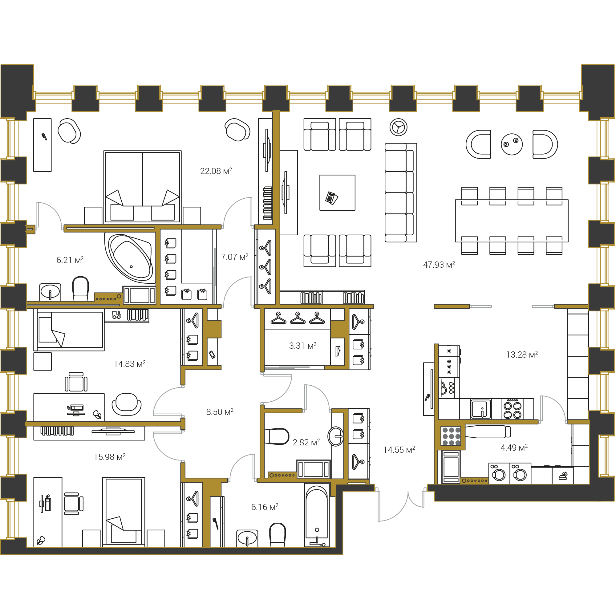 3-комнатная квартира, 167.21 м²; этаж: 6 - купить в Санкт-Петербурге