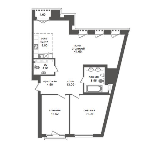 2-комнатная квартира №32А в: Приоритет: 117.66 м²; этаж: 3 - купить в Санкт-Петербурге