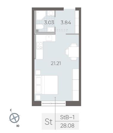 1-комнатная квартира №17А в: Neva Residence: 28.8 м²; этаж: 1 - купить в Санкт-Петербурге