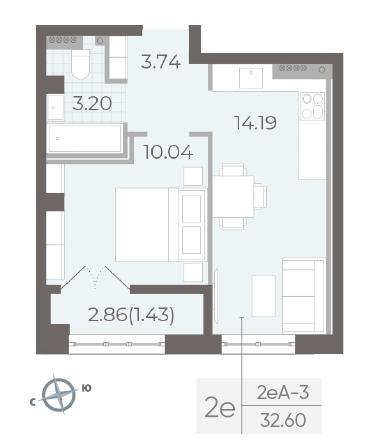 1-комнатная квартира №17А в: Neva Residence: 32.6 м²; этаж: 5 - купить в Санкт-Петербурге