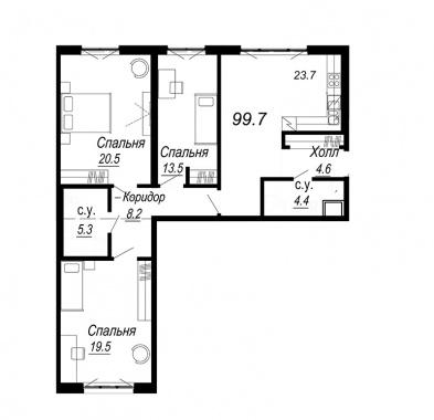 3-комнатная квартира №27 в: Meltzer Hall: 99.7 м²; этаж: 3 - купить в Санкт-Петербурге
