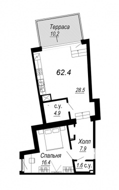 1-комнатная квартира №27 в: Meltzer Hall: 62.4 м²; этаж: 6 - купить в Санкт-Петербурге